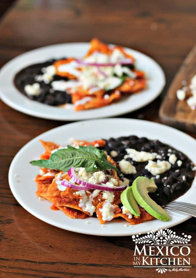 Mexican Chilaquiles rojos, made with tortilla chips and salsa.