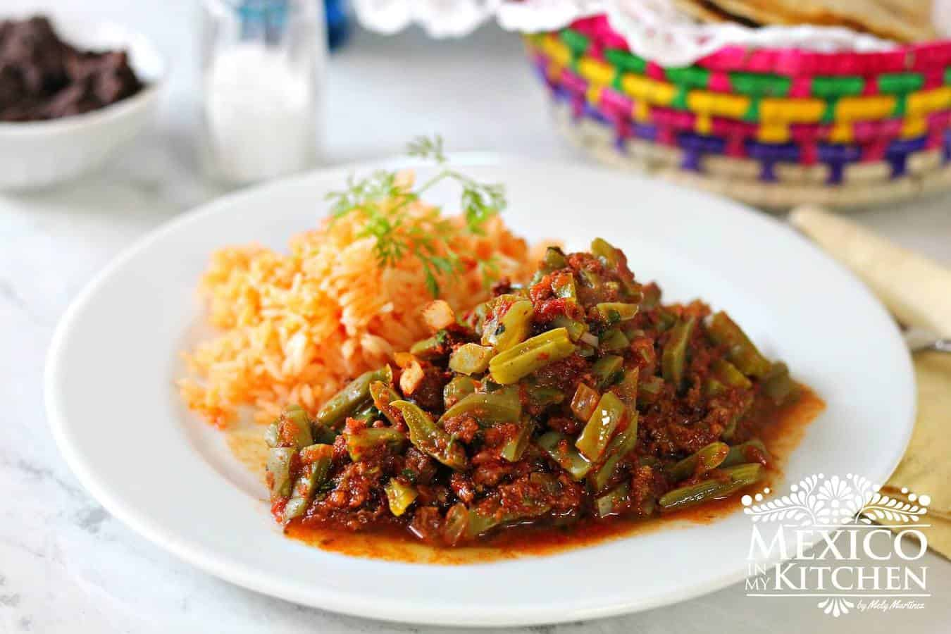 Nopales with chorizo.Tasty combination of nopales with chorizo in a spicy salsa.