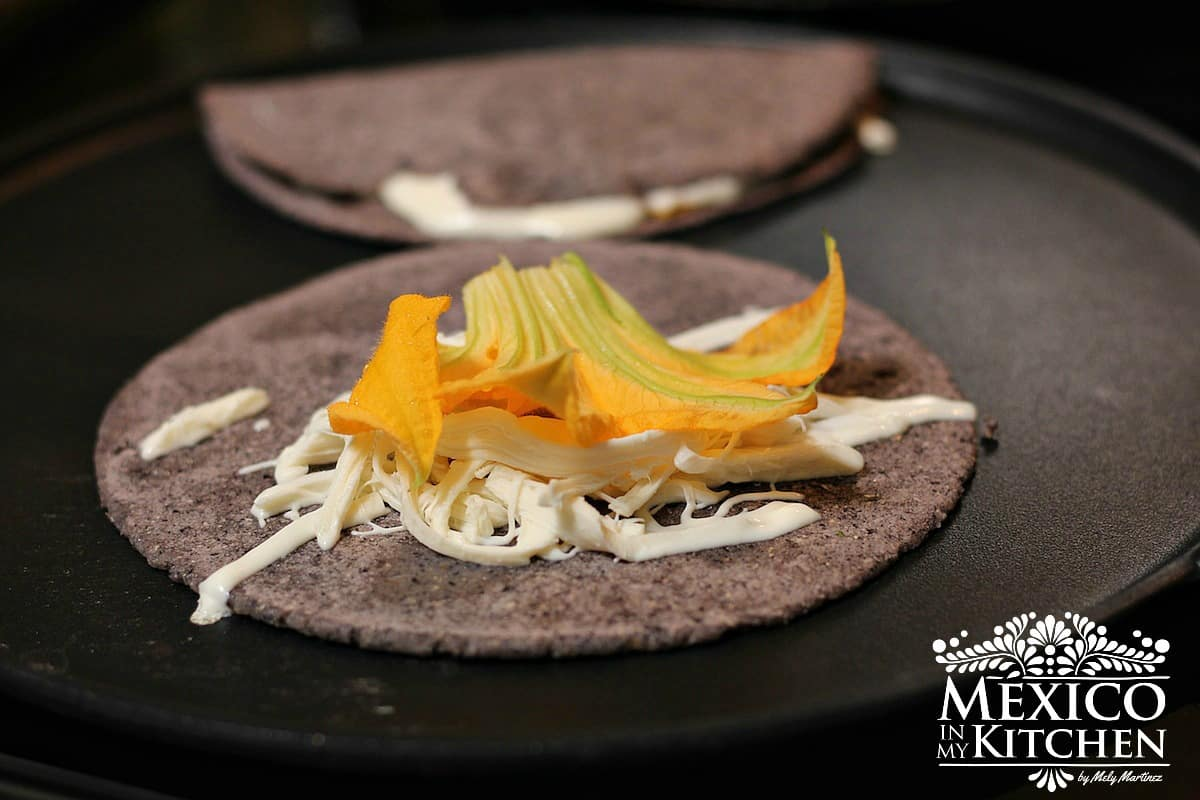 squash blossom blue corn quesadilla |Mexican recipe