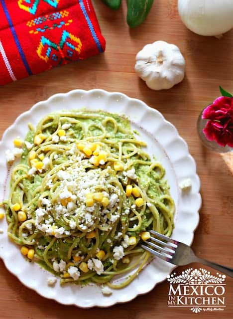 Pasta with Creamy Roasted Poblano Sauce | Mexican Recipes