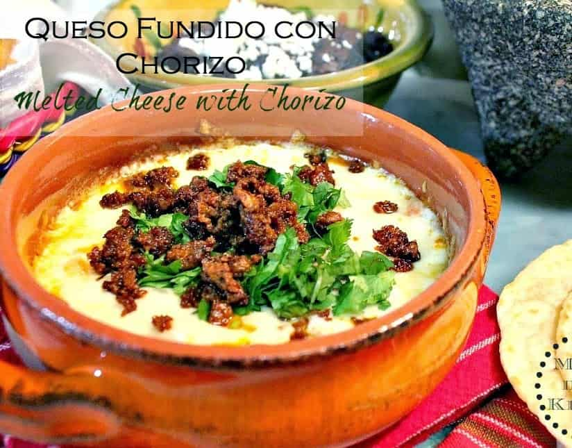 Melted Cheese with Chorizo - Queso Fundido con Chorizo | Mexican Game Day Recipes