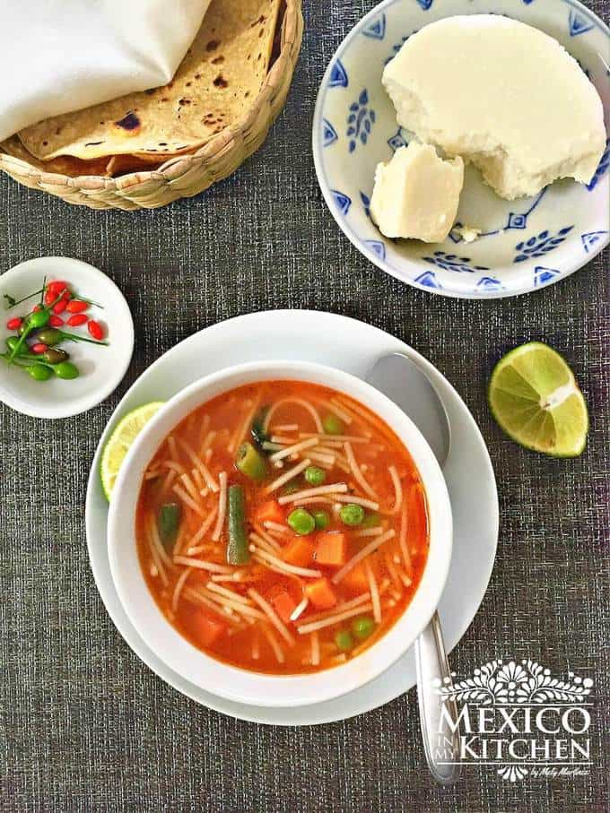 Sopa de fideo recipe - Traditional Mexican Noodle soup made with chicken broth or chicken bouillon and tomatoes.