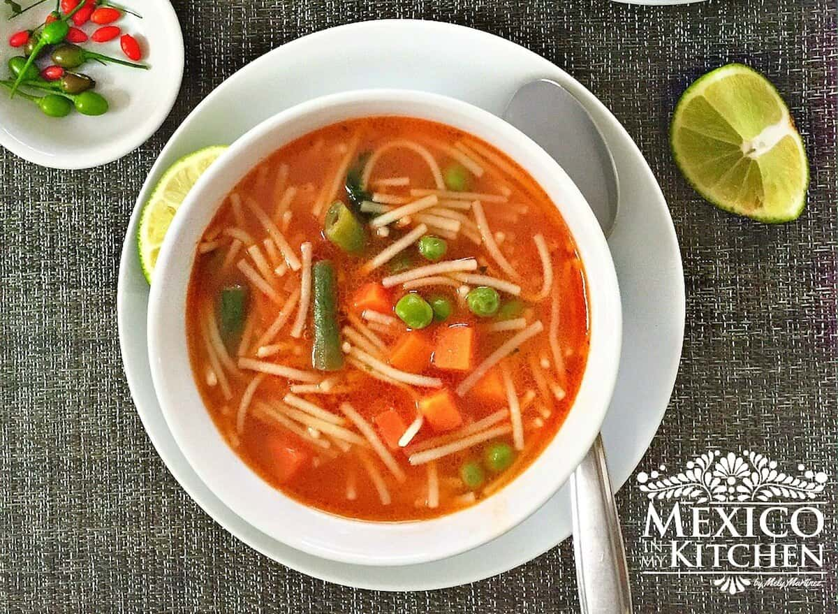 Sopa de Fideo recipe , Traditional Mexican noodle soup in a chicken broth & tomato broth.