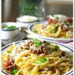 Spaghetti with Chipotle Ground Beef and Cotija