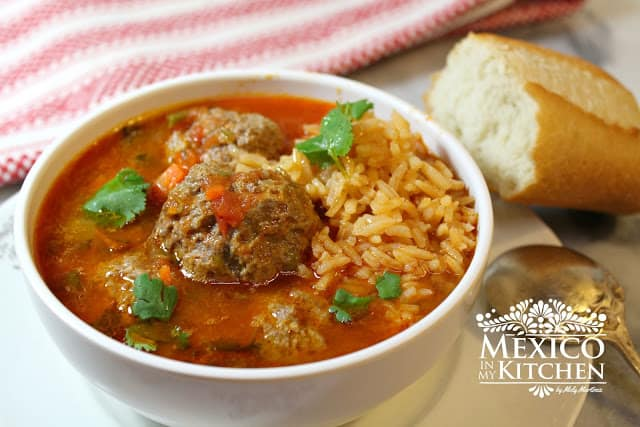 Mexican Meatball Soup Recipe served with rice and a piece of bread