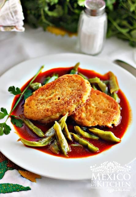 Dried Shrimp Patties in a Red Sauce with Cactus | Mexican recipes