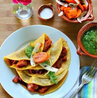 Pork Carnitas in Guajillo Sauce Tacos Recipe (Chicharron Prensado Casero)