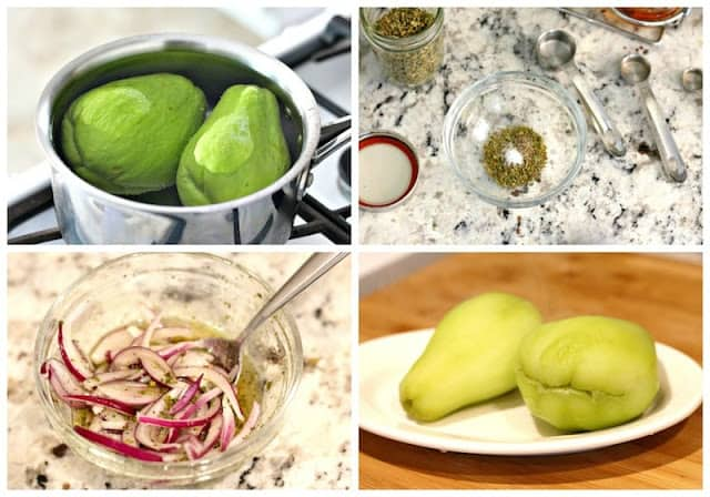 chayote salad recipe | step by step instructions with photos of the process.