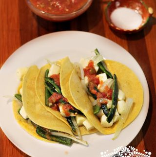 Roasted Poblano Peppers and Cheese Tacos