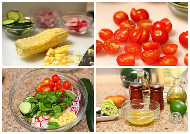 Corn Salad Recipe, corn, tomato, avocado salad with a homemade dressing.