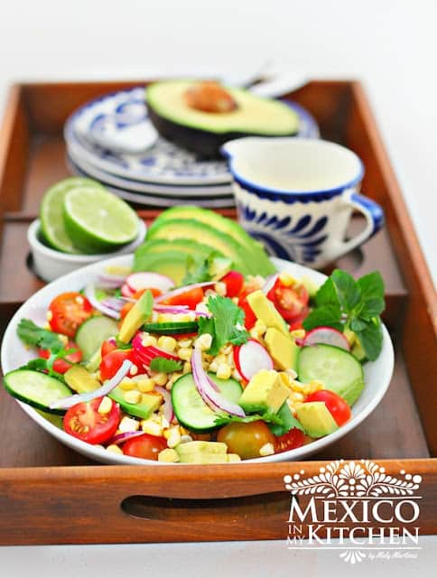 Avocado Tomato Corn Salad Recipe - A summer salad recipe with avocado.