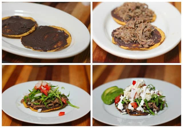 Shredded Beef Tostadas, a delicious Mexican dish