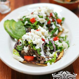 Beef tostadas recipe using shredded meat.