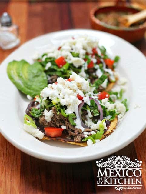 Beef tostadas recipe a comfort food tostadas de carne deshebrada beef tostadas recipe mexican tostadas recipe authentic mexican recipes by mexico in my kitchen forumfinder Choice Image