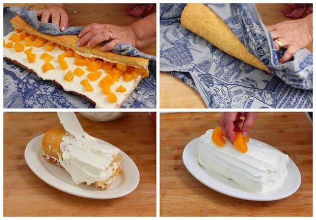 Peach cake roll recipe, step by step photo recipe plus video.