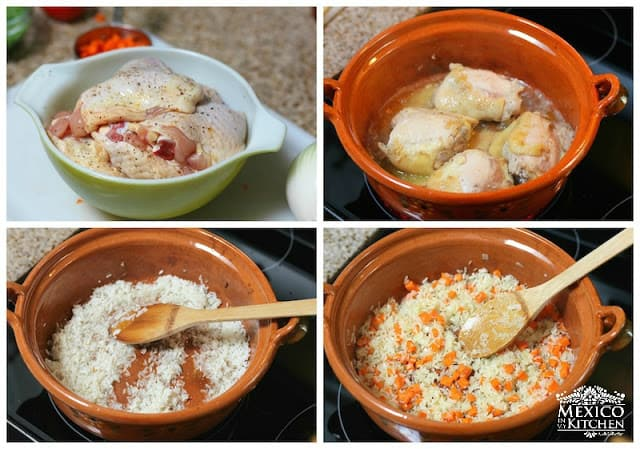Arroz con pollo - rice with chicken step by step process in pictures