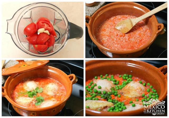 easy step by step tutorial for making tomato sauce and cooking Mexican chicken with rice.