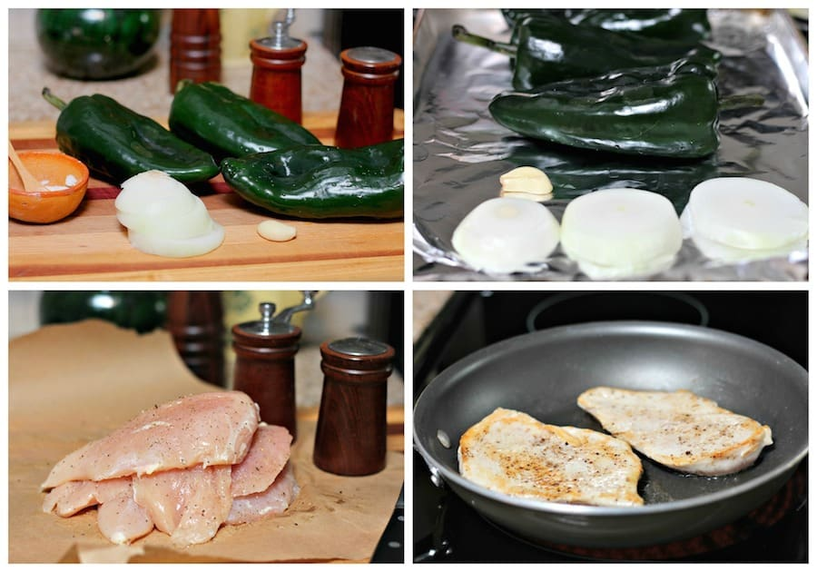 Chicken with Creamy Poblano sauce, step by step