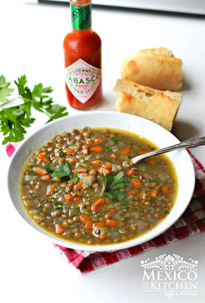 Lentil Soup Recipe with tabasco and baguette bread