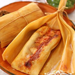Sweet Corn Tamales with a Savory Filling.