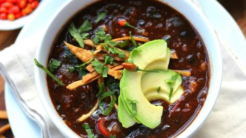Mexican Black Bean Soup with Chorizo