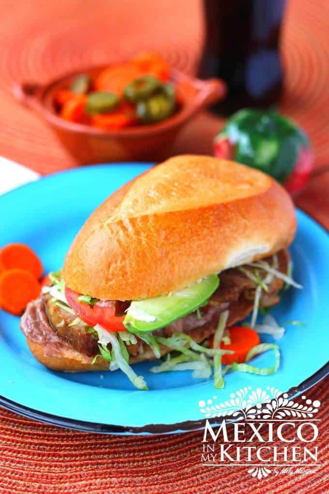 Mexican pork leg torta sandwich - Torta de Pierna Mexican Recipes