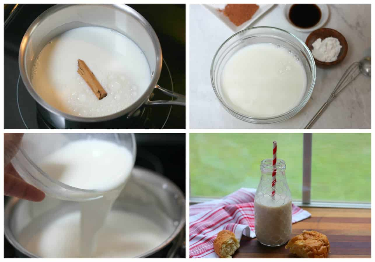 Flavored Milk with vanilla and cinnamon. Easy and delicious