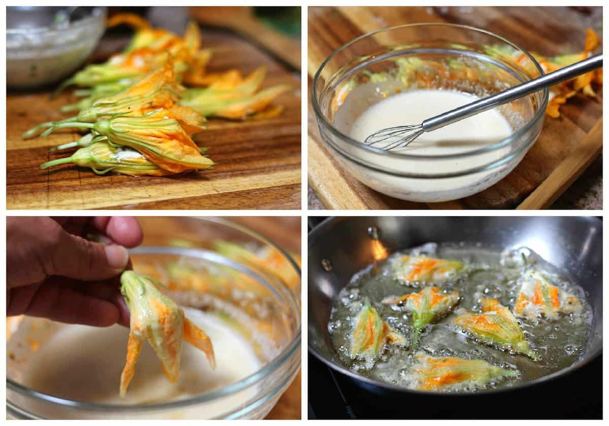 stuffed Squash blossoms. Fried squash blossoms stuffed with ricotta cheese Mexican style.