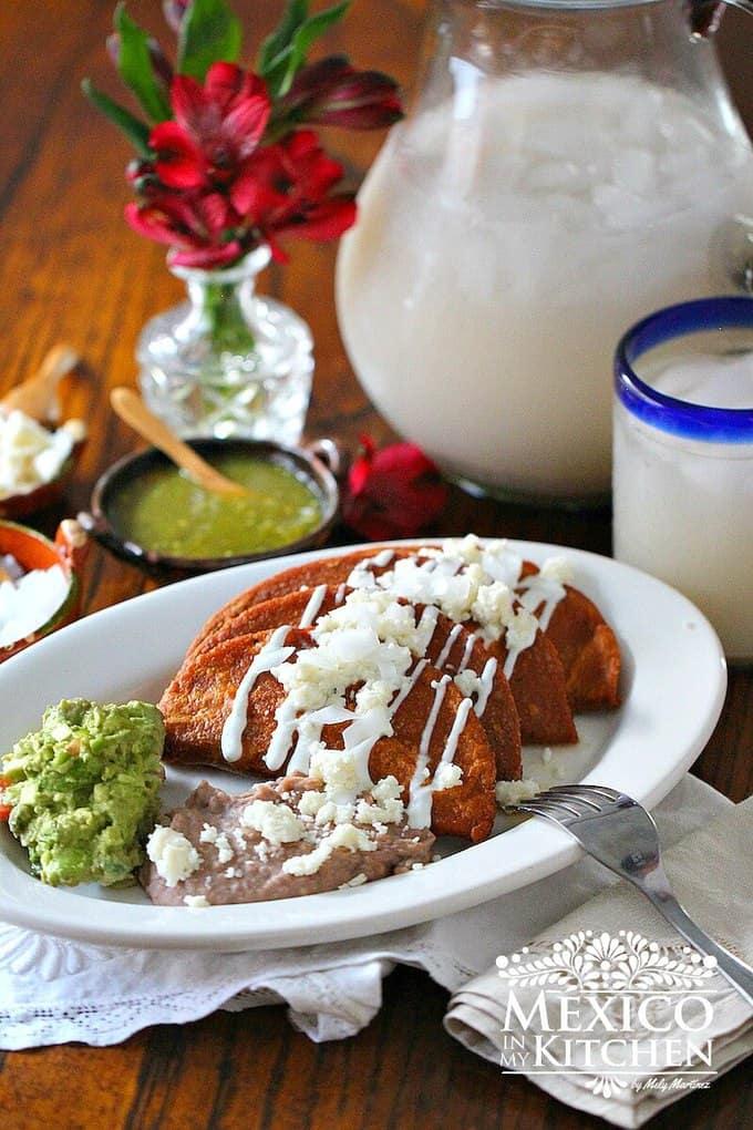 Enchiladas Potosinas Recipe Paired With Klass Horchata Traditional