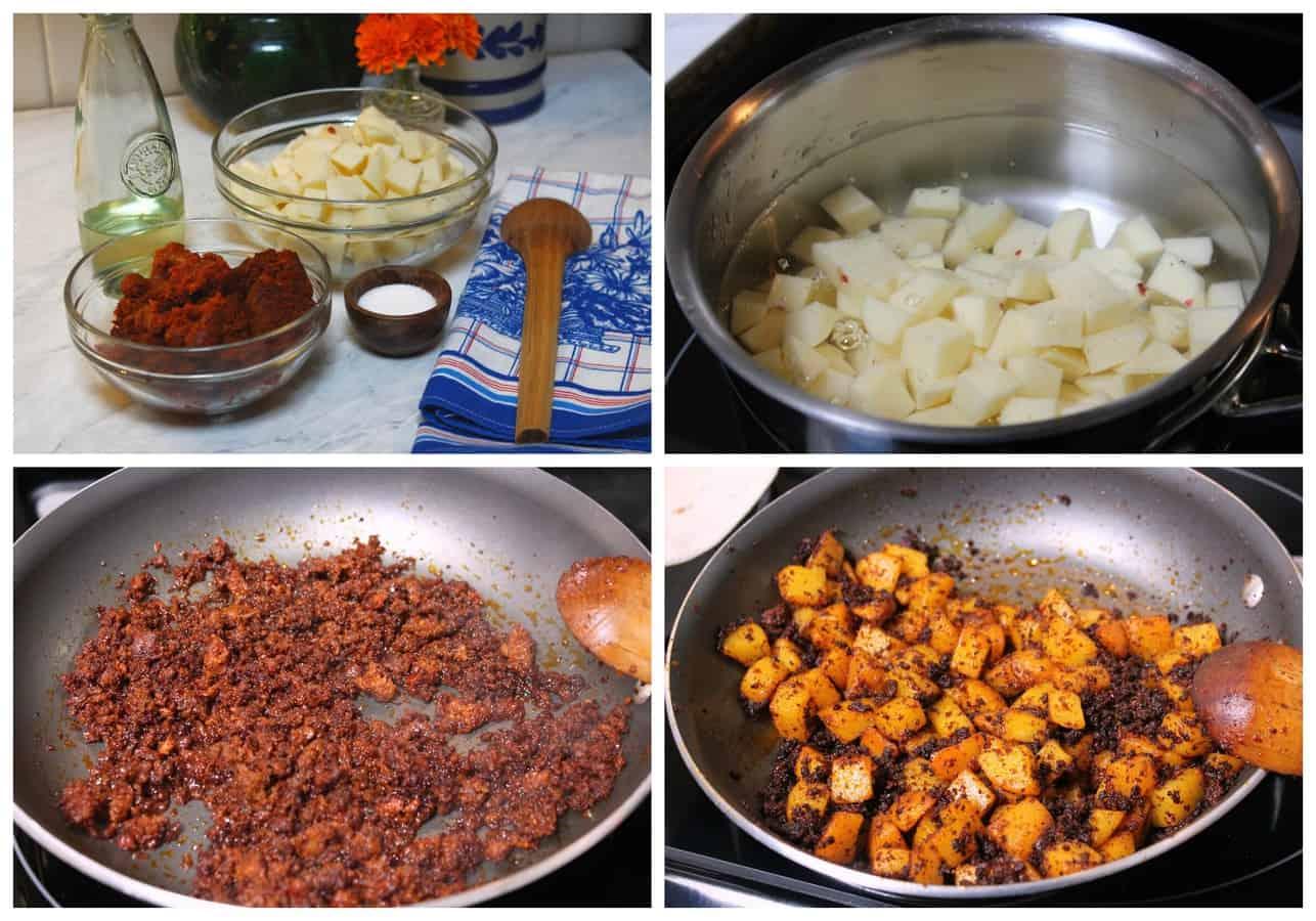 Papas con chorizo - potatoes recipe - A mexican recipe using the chorizo sausage.