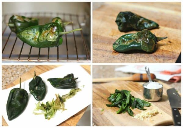 Roasting poblano peppers in an electric stove
