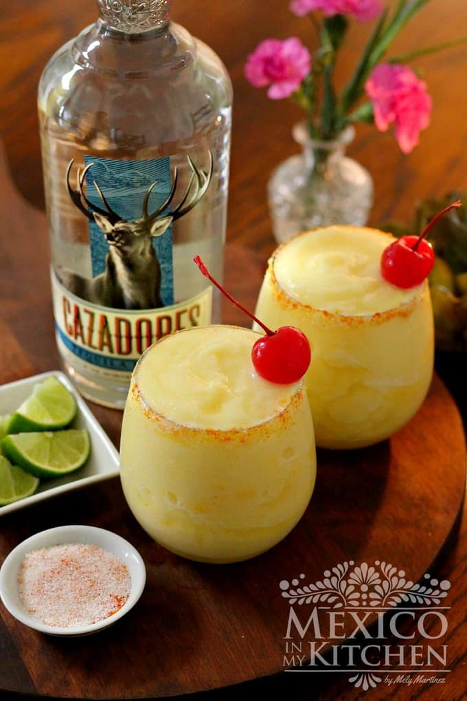 Pineapple margarita recipe with a spicy glass rim