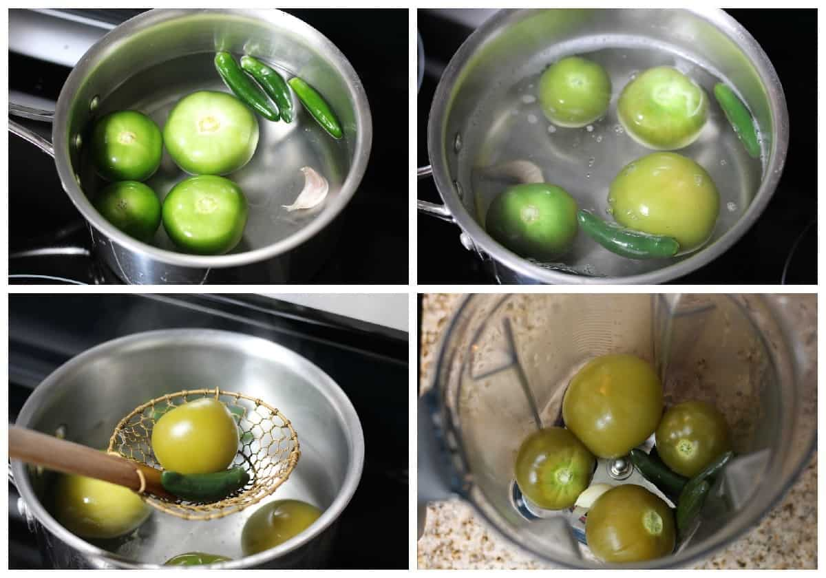 Cooking tomatillos and peppers for salsa verde