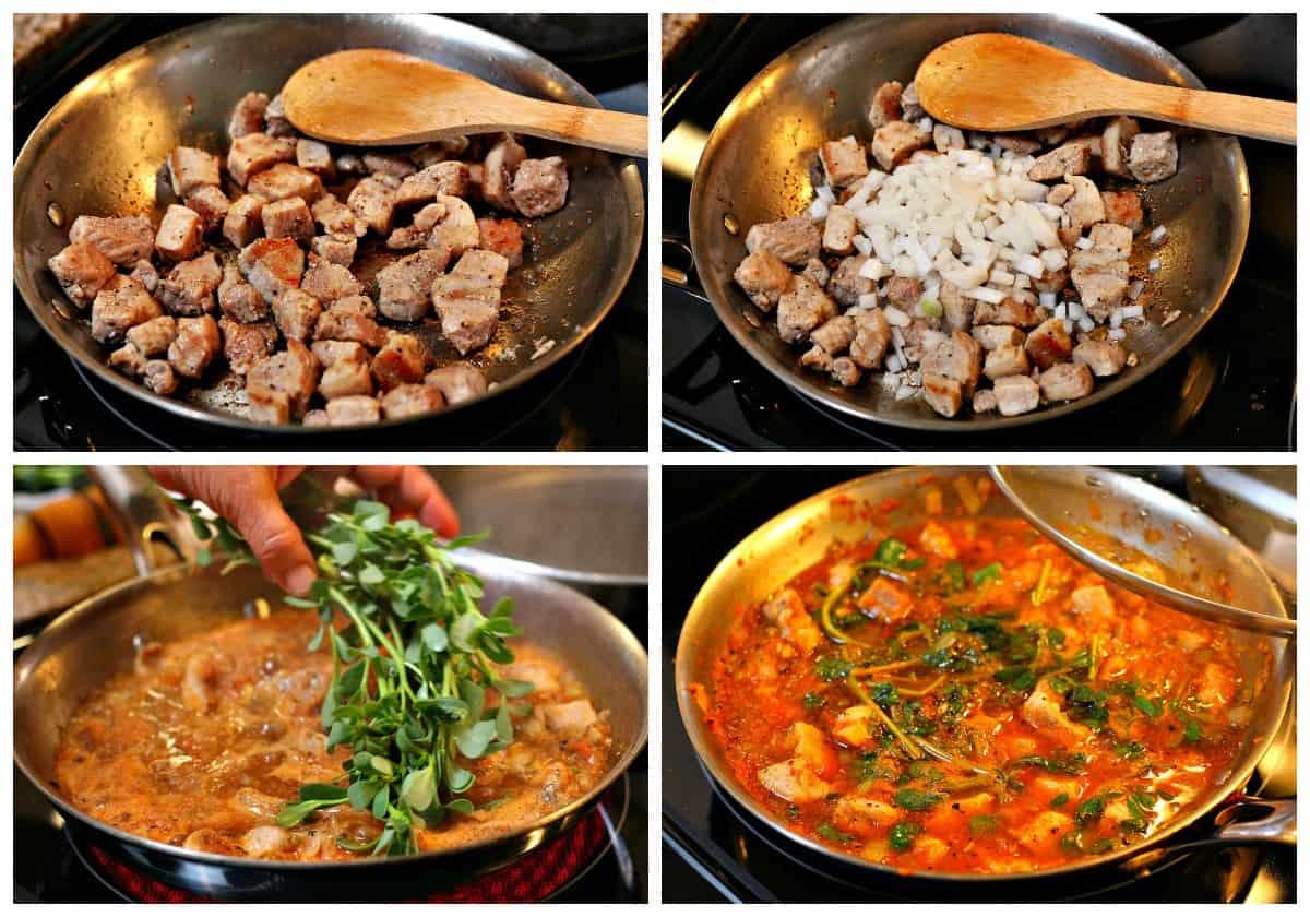 Steps to cook Pork stew with purslane instrucciones -1