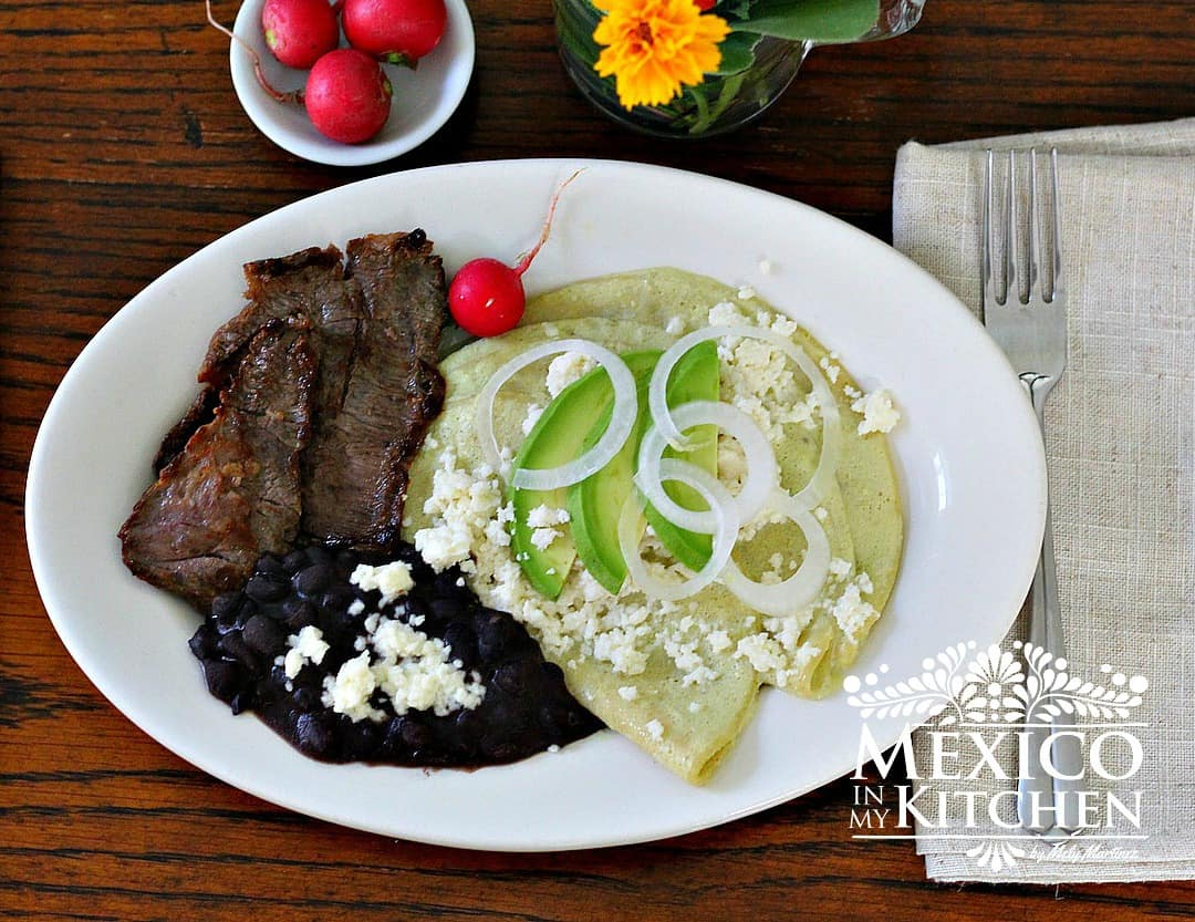 Creamy tomatillo enchiladas with skirt steak