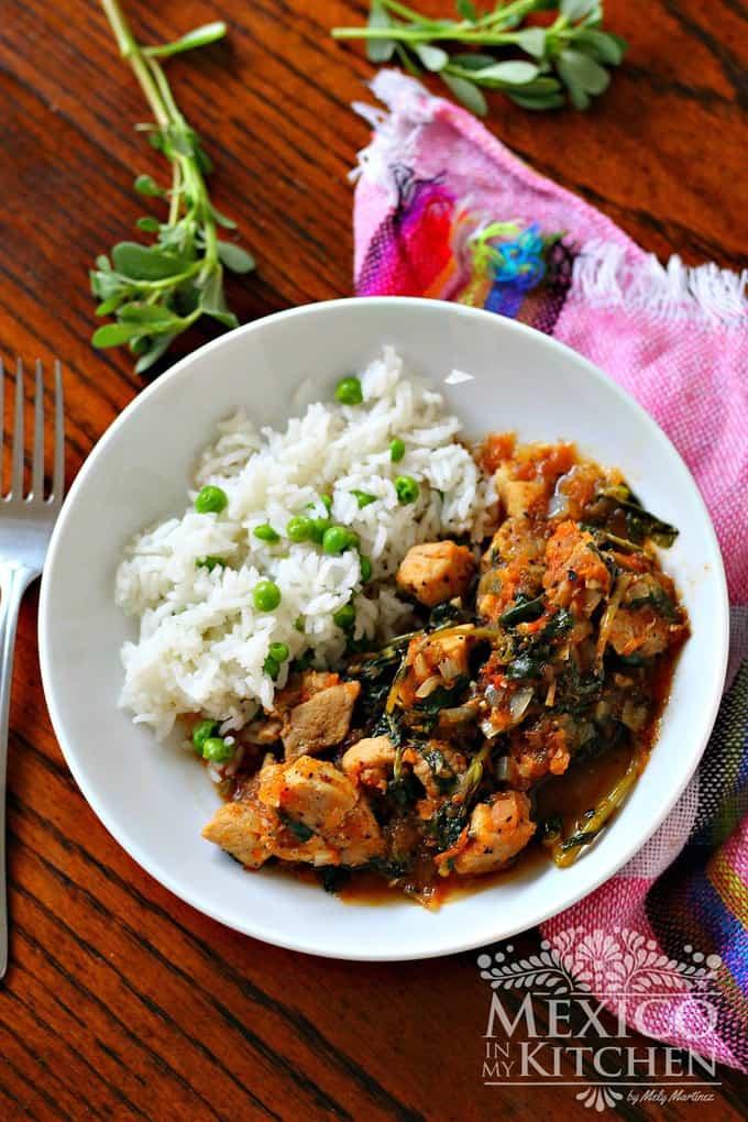 pork stew with purslane serve with rice and peas