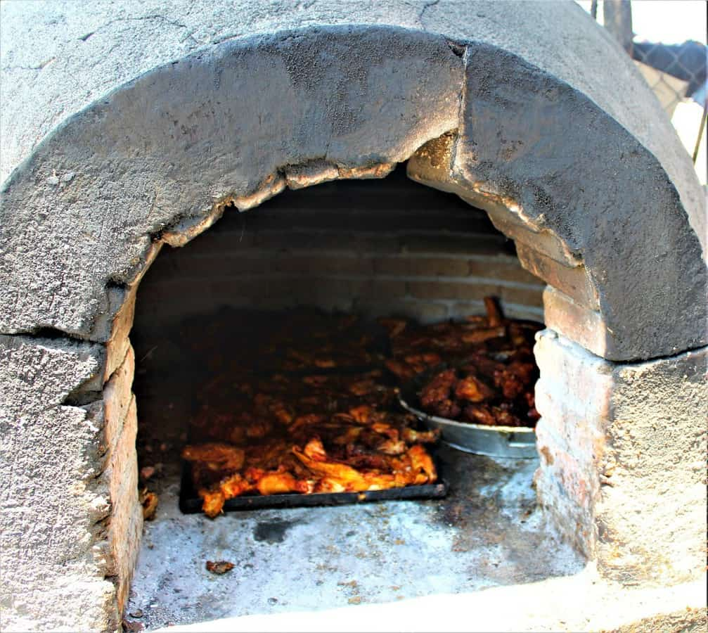 Brick oven with roasted chicken