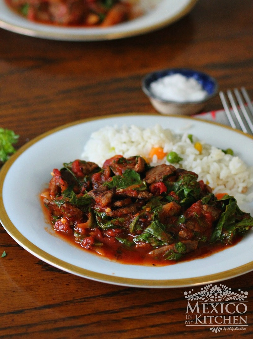 beef tomato stew with swiss chard