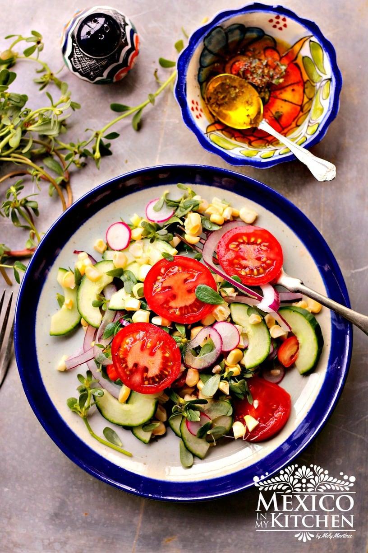 corn, tomato, cucumber salsa
