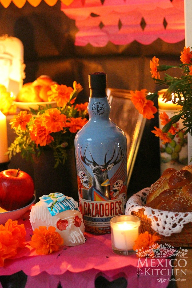 day of the dead altar and tequila