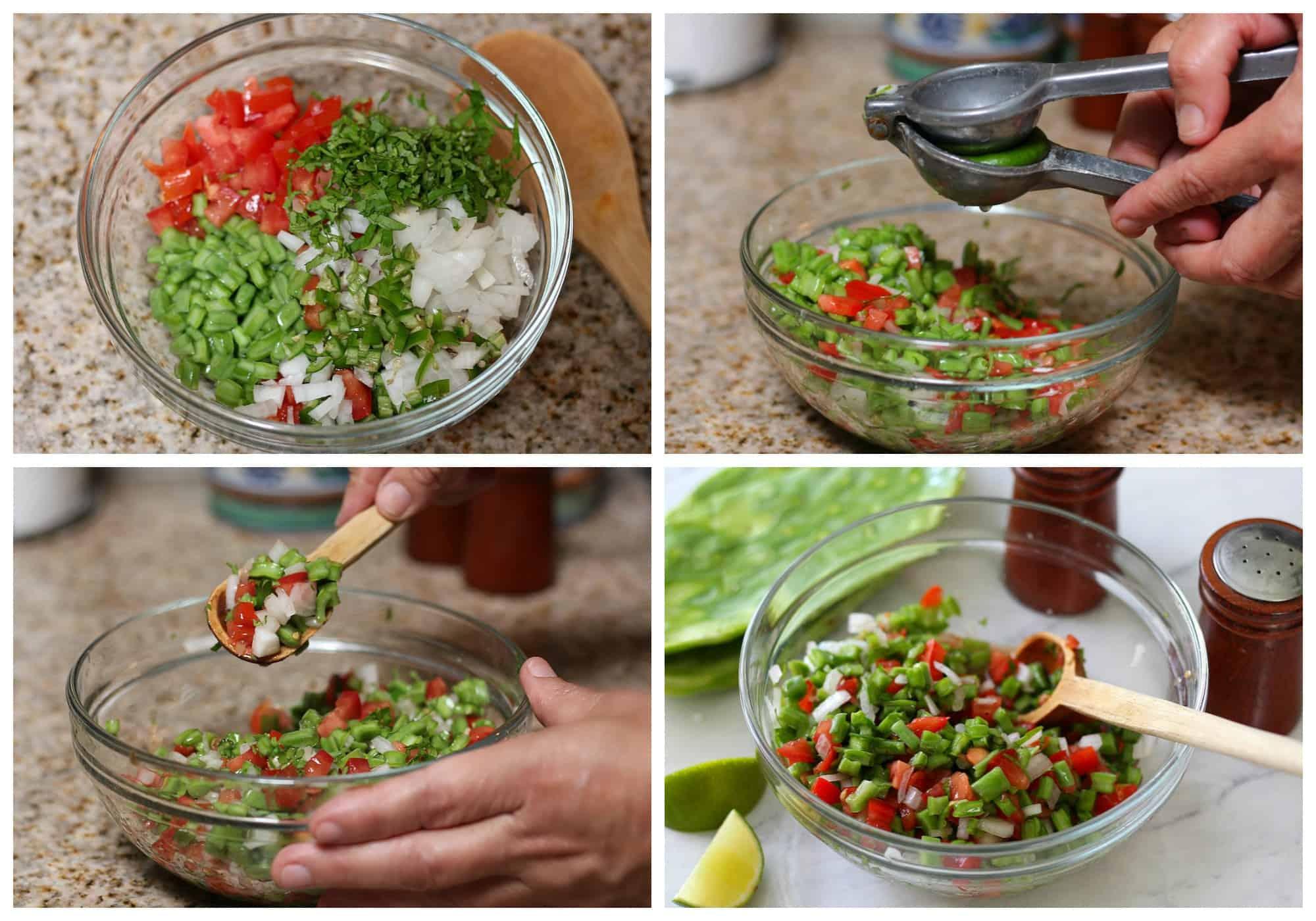 Raw Nopales Salad Process
