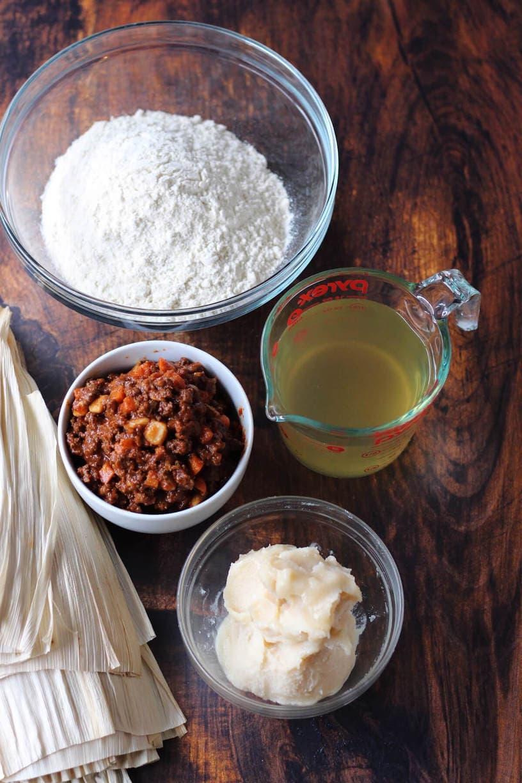 Ingredients to make tamales