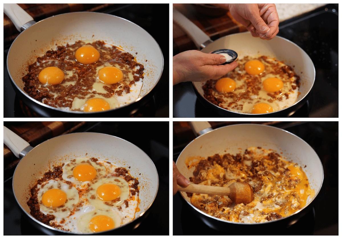 Process to make eggs and chorizo